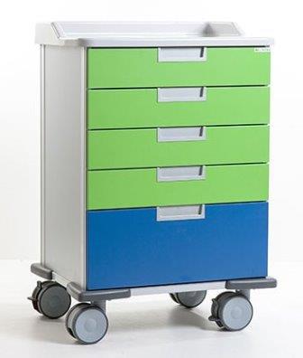 Medicijnwagen met lades gekleurd