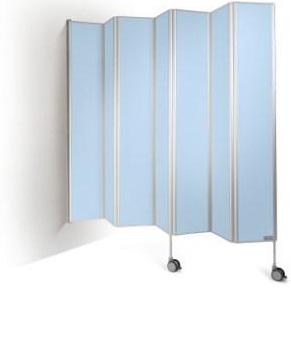 ziekenhuisscherm muurmodel blauw bijgesneden